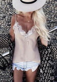 Apricot Patchwork Lace Condole Belt V-neck T-Shirt
