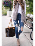 Grey Faux Fur Pockets Pom Pom Furry Fuzzy Casual Cardigan Vest
