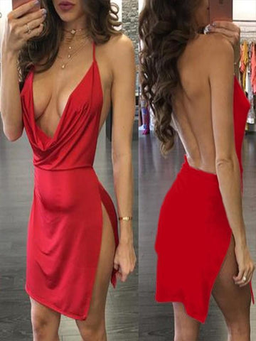 New Red Side Slit Spaghetti Strap Plunging Neckline Bodycon Clubwear Party Mini Dress