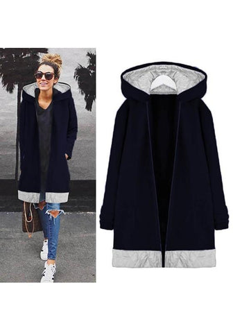 Navy Blue Patchwork Pockets Hooded Zipper Long Sleeve Fashion Coat