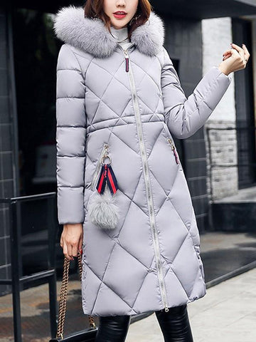 Grey Patchwork Fur Pockets Zipper Pompom Hooded Long Sleeve Casual Coat