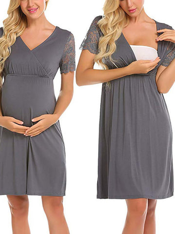 Newbabychic Lace Patch V-Neck Maternity Short Sleeve Dress