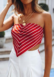 Red Striped Bow Irregular Off Shoulder Backless Casual Blouse