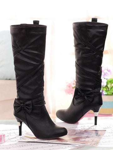 New Black Round Toe Stiletto Bow Fashion Knee-High Boots