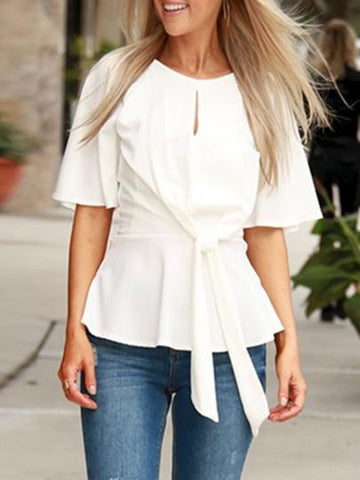 Onlinechoic White Patchwork Cut Out Belt Elbow Sleeve Fashion Blouse