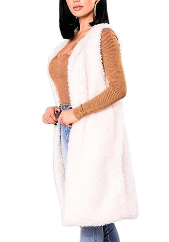 White Lambswool Faux Fur Deep V-neck Casual Cardigan Vest Coat