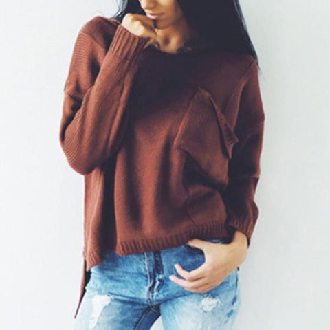 Dark Coffee Cut Out Pockets Irregular V-neck Casual Pullover Sweater