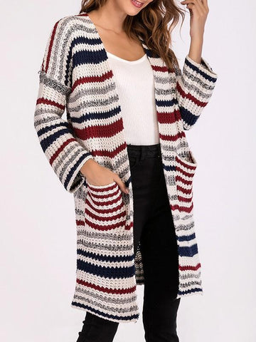 White Striped Print Pockets Long Sleeve Oversize Casual Cardigan Sweater