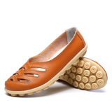 Onlinechoic New Hollow Out Leather Breathable Casual Slip On Moccasin For Women