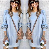 New Grey Plain Ruffle Long Sleeve Going out Mini Dress