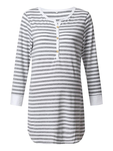 Newbabychic Maternity Striped Long Sleeve Cotton Nursing Dress