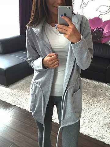 New Grey Drawstring Pockets Long Sleeve Fashion Coat