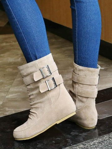 Beige Round Toe Flat Buckle Fashion Ankle Boots