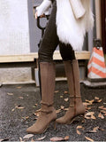 Brown Point Toe Stiletto Rivet Buckle Fashion Knee-High Boots
