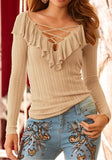 Khaki Lace-Up Ruffle Cut Out V-neck Long Sleeve Fashion T-Shirt