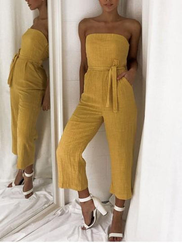 Onlinechoic Ginger Yellow Belt Pockets Bandeau Fashion Jumpsuit Pant