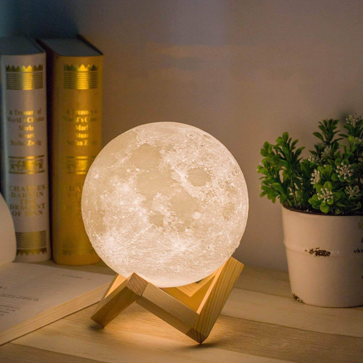 3D Moon Lamp with Simulated Lunar Surface Toy
