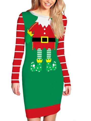 Green Christmas Santa Claus Cartoon Print Santa Pattern Long Sleeve Round Neck Bodycon Party Mini Dress