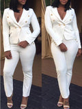 White Pockets Double Breasted Turndown Collar Two Piece Suit Casual Long Jumpsuit