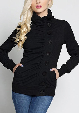 Black High Neck Long Sleeve Single Breasted Fashion Sweatshirt