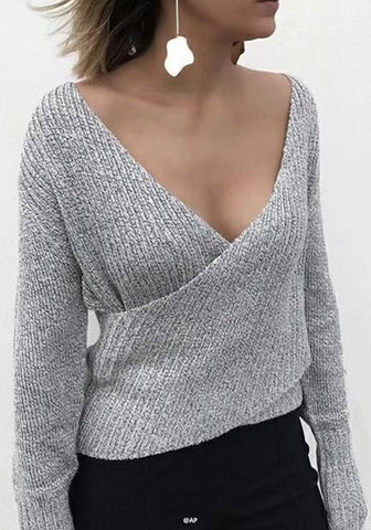 Grey Plain Irregular V-neck Fashion Pullover Sweater