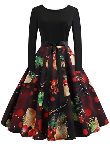 New Black Floral Bow Print Collarless Long Sleeve Party Midi Dress