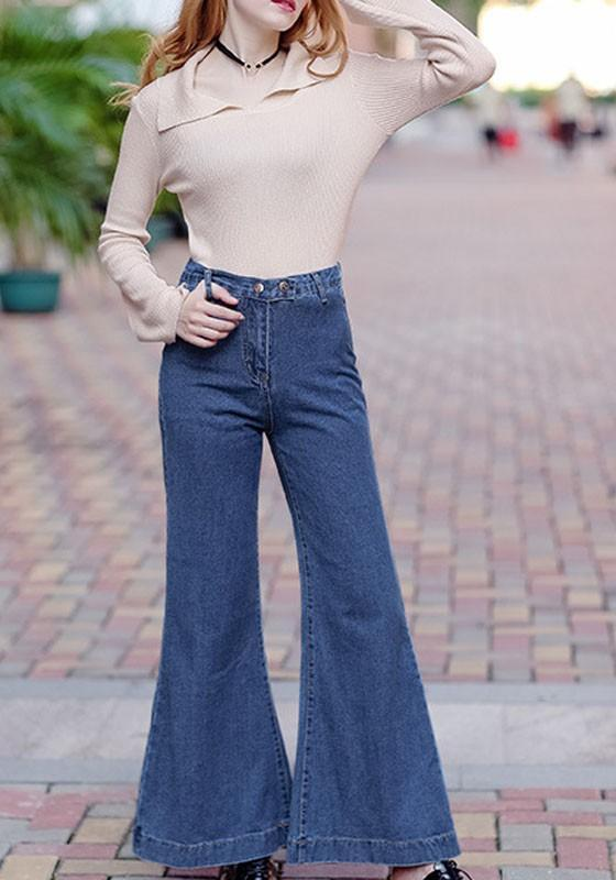 Blue Buttons Zipper Pockets Wide Leg Boyfriend Mom Flare Long Denim Pants Bell Bottoms