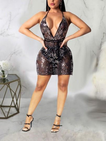 Onlinechoic Black Patchwork Sequin Spaghetti Strap Belt V-neck Backless Sparkly Glitter New Year's Eve Party Mini Dress