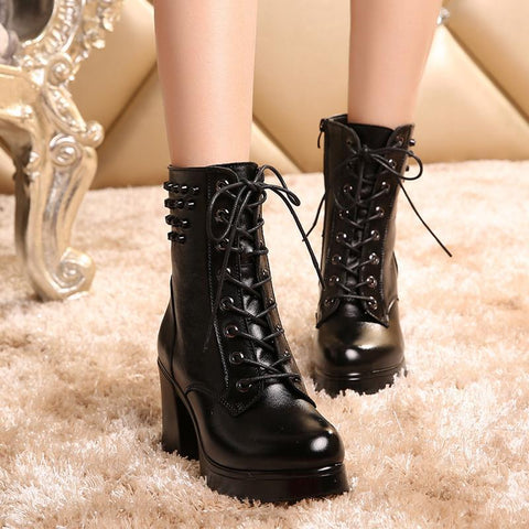 Fall Winter Leather High Heels Cowgirl Boots