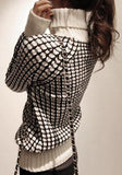 White-Black Plaid Print High Neck Long Sleeve Fashion Pullover