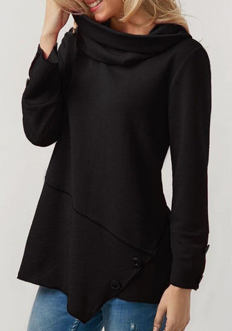 Black Irregular Band Collar Round Neck Long Sleeve Pullover Sweatshirt