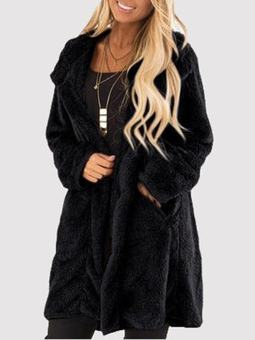New Black Pockets Turndown Collar Long Sleeve Oversize Casual Coat