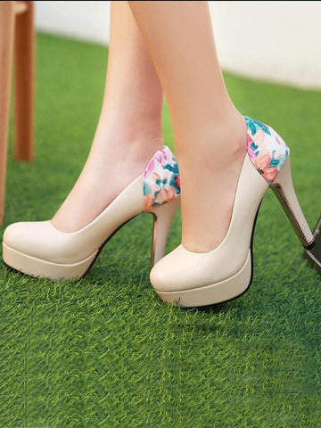 New Beige Round Toe Stiletto Print Patchwork Fashion High-Heeled Shoes