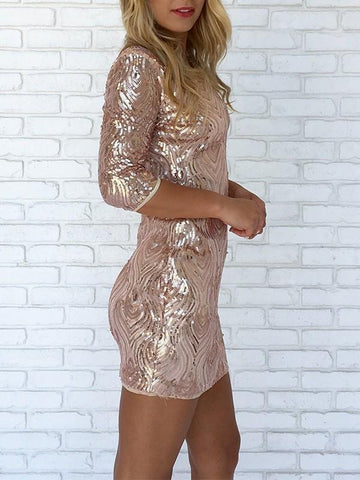 New Pink Patchwork Sequin Long Sleeve Party Mini Dress