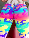 New Yellow Camouflage Pleated High Waisted Peach Heart Sports Yoga Long Legging