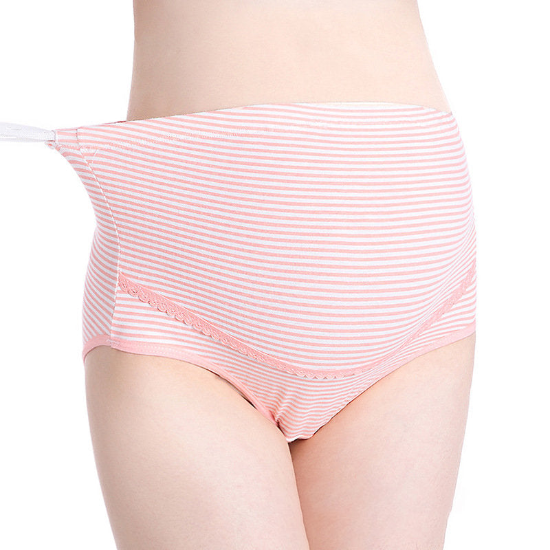 Newbabychic Breathable Cotton High Waist Striped Maternity Panties