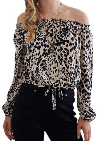 Black Leopard Print Drawstring Off Shoulder Backless Going out Blouse