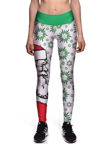 New White Green Snowflake Print Santa Claus Print Christmas Pants Yoga Sports Long Legging