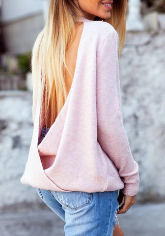 Pink Multi-functional Backless Irregular V-neck Long Sleeve Fashion Pullover Sweater