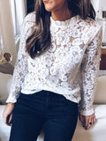 White Patchwork Lace Ruffle High Neck Long Sleeve Blouse