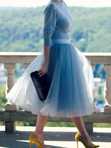 Blue Patchwork Grenadine Pleated High Waisted Fluffy Puffy Tulle Skirt