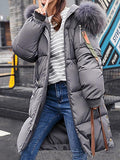 Grey Patchwork Fur Pockets Buttons Zipper Hooded Long Sleeve Casual Coat