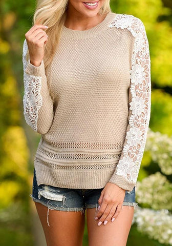 Khaki Patchwork Lace Round Neck Long Sleeve Casual Pullover Sweater