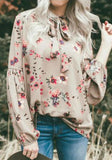 Khaki Floral Lace-up Long Sleeve Loose Fashion Blouse