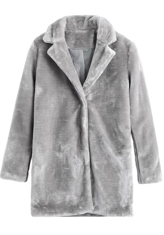Grey Fluffy Turndown Collar Going out Casual Cardigan Coat