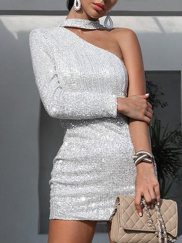 Silver Plain Irregular Sweet Elegant Party Mini Dress