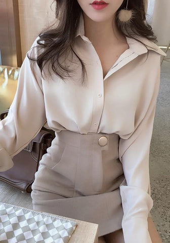 Apricot Single Breasted Turndown Collar Elegant Office Worker/Daily Blouse
