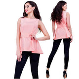 Pink Sashes Peplum Irregular High-low Sleeveless Slim Elegant Blouse