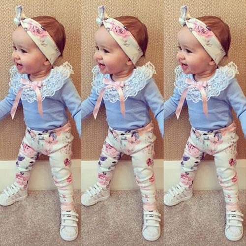 Newbabychic Floral Clothes Long Sleeve T-Shirt Lace + Pants Casual Flower Cotton Headband 3pcs Outfits Baby Girl Clothes Set