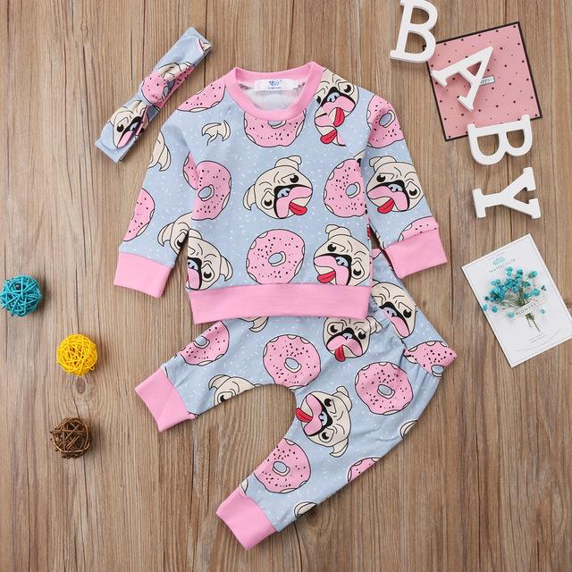 Newbabychic 3pcs Girl Clothing Sweet Newborn Baby Outfit Clothes Pugs Donuts Lemon Tops Leggings Pant Headband Set